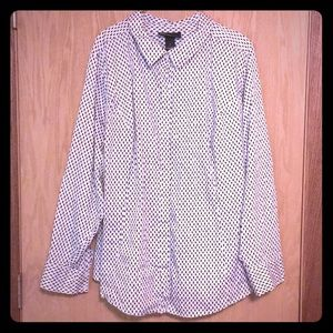 🌻Plus Size White and Black Button Up Blouse